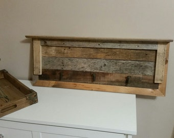 Reclaimed wood shelf with hooks