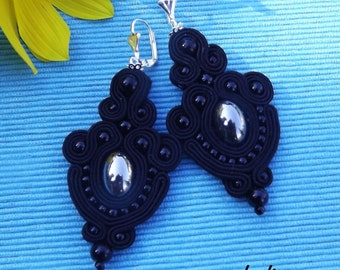 Black  Soutache Earrings, elegant, classics