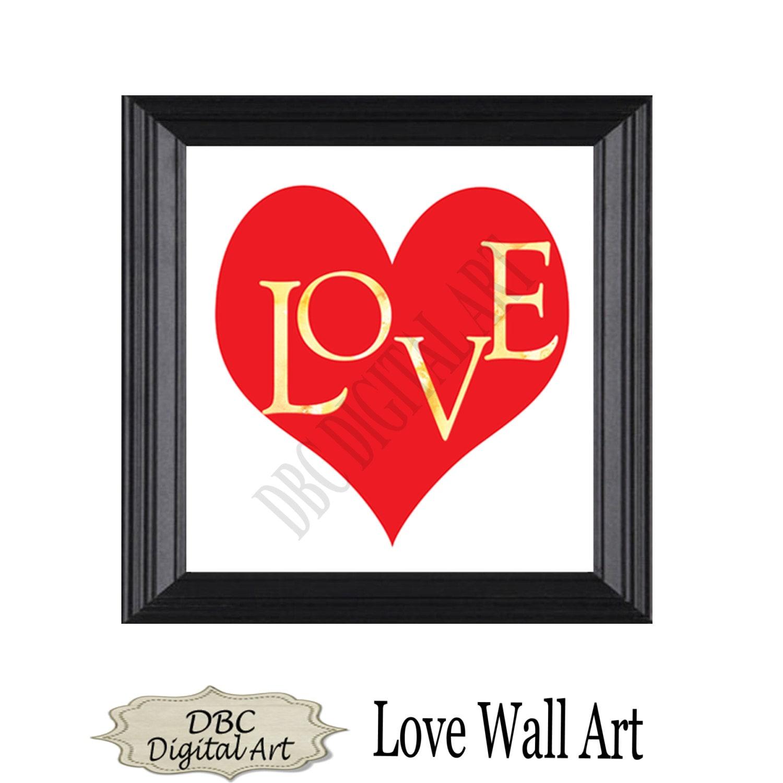 Wall Art Love Hearts : Love heart wall art inspirational by