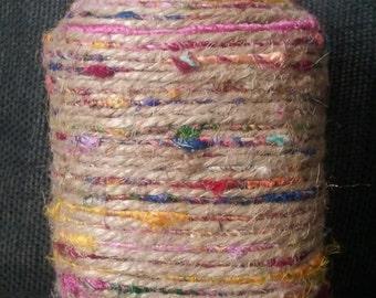 Hand Made Air Tight, Glass Mason Stash Jar With Hemp, Macrame, Jute, and Tye-dye Recycled Silk