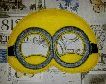 Yellow minion helper inspired maskin the hoop Project ith Embroidery Design Costume, Cosplay, Fancy dress, Masquerade, Photo booth, Prop.