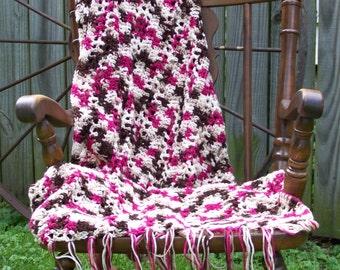 Afghan, Crochet Blanket, Pink and brown, blanket, Crochet afghan, Throw, Crochet throw, Bedding