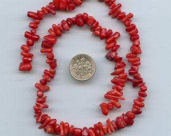 "Red Coral, 7-14mm Cupolini BEADS, 15""-16"" Strand, DESTASH ks225"