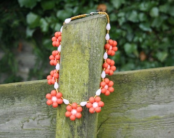Rose Pearl textured bead necklace