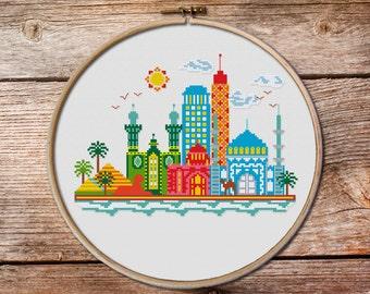 Pretty Little Cairo, pretty little cities, the pyramids in Egypt, Cairo cross stitch pattern, Egyptian Pyramids, Sphinx  cross stitch
