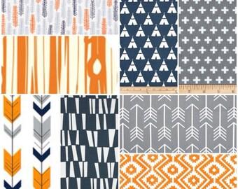 Custom Crib Bedding Set, Made to Order, Navy, Orange, gray,modern, aztec,  arrows, crib skirt, sheet, baby blanket