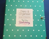 SALE  - 2016 Diary & Organiser - Teal and white polka dot with pink inside cover