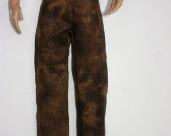 Brown Ken Doll Pants - Mottled Brown/Camo-like