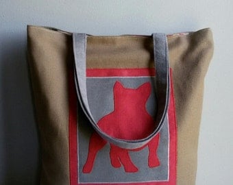 French Bulldog bag ,big fabric bag, portrait dog bag, comfortable bag, capacious bag,gift funny dog, to walk the dog,an exhibition of dogs,