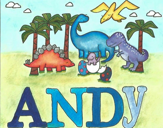 PERSONALIZED Handmade, Hand Painted Dinosaur Scene W/ Your Child's Name