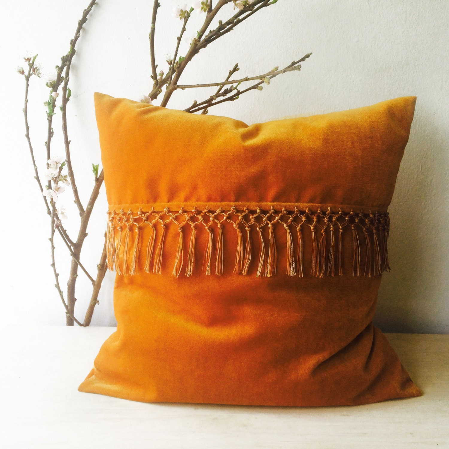 Tassel Pillow Boho Pillow Cover Velvet Pillow Cover By