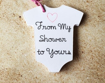 """From My Shower to Yours Baby Shower Tags, 2.5"""" Wide White Baby Onesie Favor Tags, Baby Shower Decor"""