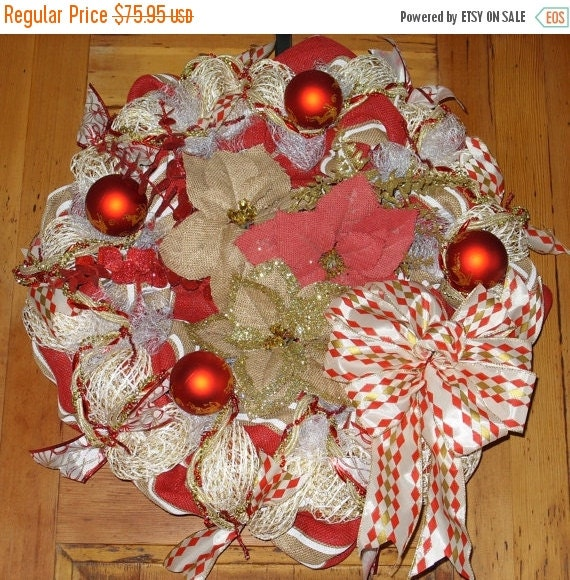 On sale burlap poinsettia wreath christmas red tan for Elegant christmas decorations for sale