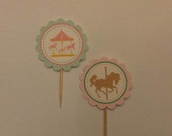 Carousel themed cupcake toppers