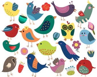 Vintage Birds and Flowers, Cute, Summertime Clipart- Set of 25 300 DPI JPG, PNG, and Vector Files