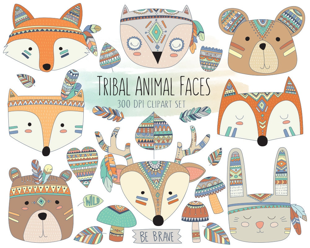 Animal face clipart | Etsy
