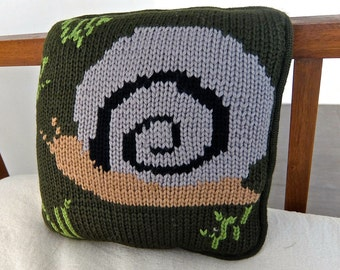 Snail Pillow, decorative handknit pillow with a modern homespun feel, soft and cozy.