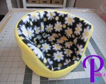 Reversible Fleece Cuddle Cup, Guinea Pig Bed, Ferret Bed, Hedgehog Bed, Rat Bed   Black and Yellow Daisy Pattern with Yellow