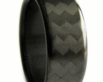 Forty Five Carbon Fiber Pattern Ring