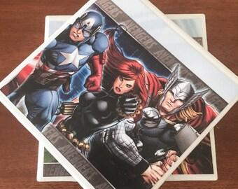 Avengers coasters, marvel coasters, ceramic tile coasters, tile coasters, coaster set, table coasters, drink coasters