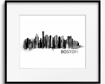 Boston Skyline Watercolor Black and White Art Print (705) Cityscape USA