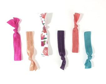 Pink Peonies Hair Tie Package - Fold Over Elastic Hair Ties - Hair Ties - Hair Ties that Double as Bracelets by Ties that Shine
