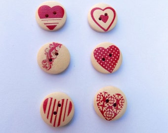 12 Round Heart Shape Buttons - #V-00001