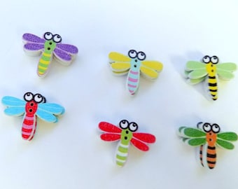12 Wooden Dragonfly Buttons - #SB-00055