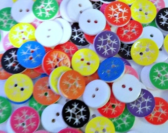 20 Plastic Snowflake Buttons - #C-00035