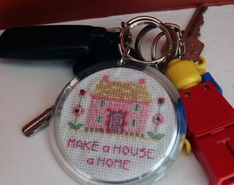 Make a House a Home Cross Stitch Keyring