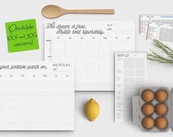 Weekly Printable Planner, Meal Planner, Grocery List, Target Calorie Tracker