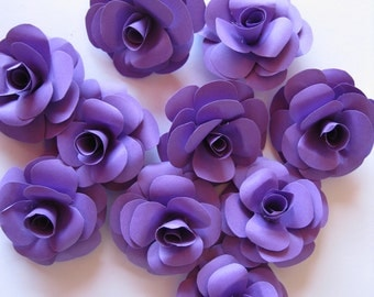 Set of 20 Purple Paper Roses, Purple Paper Flowers,  Stem Flowers, Paper Wedding Decoration, Eco Wedding, Craft Project, Small Table Flowers