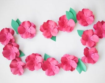 Hot Pink Paper Roses Garland, Paper Flowers Garland, Summer Party Decor, Wedding Garland, Table Flower Garland, Romantic  Wedding Garland