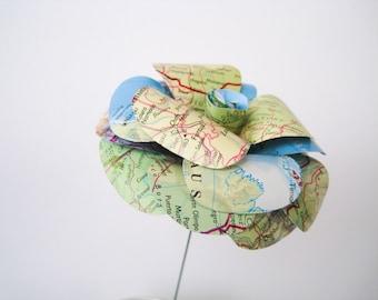 Travel Paper Roses, Map Paper Flowers, Stem Roses, Map Paper Wedding, Blue Paper Wedding, Centerpiece, Map Flower, Travel Wedding Decor