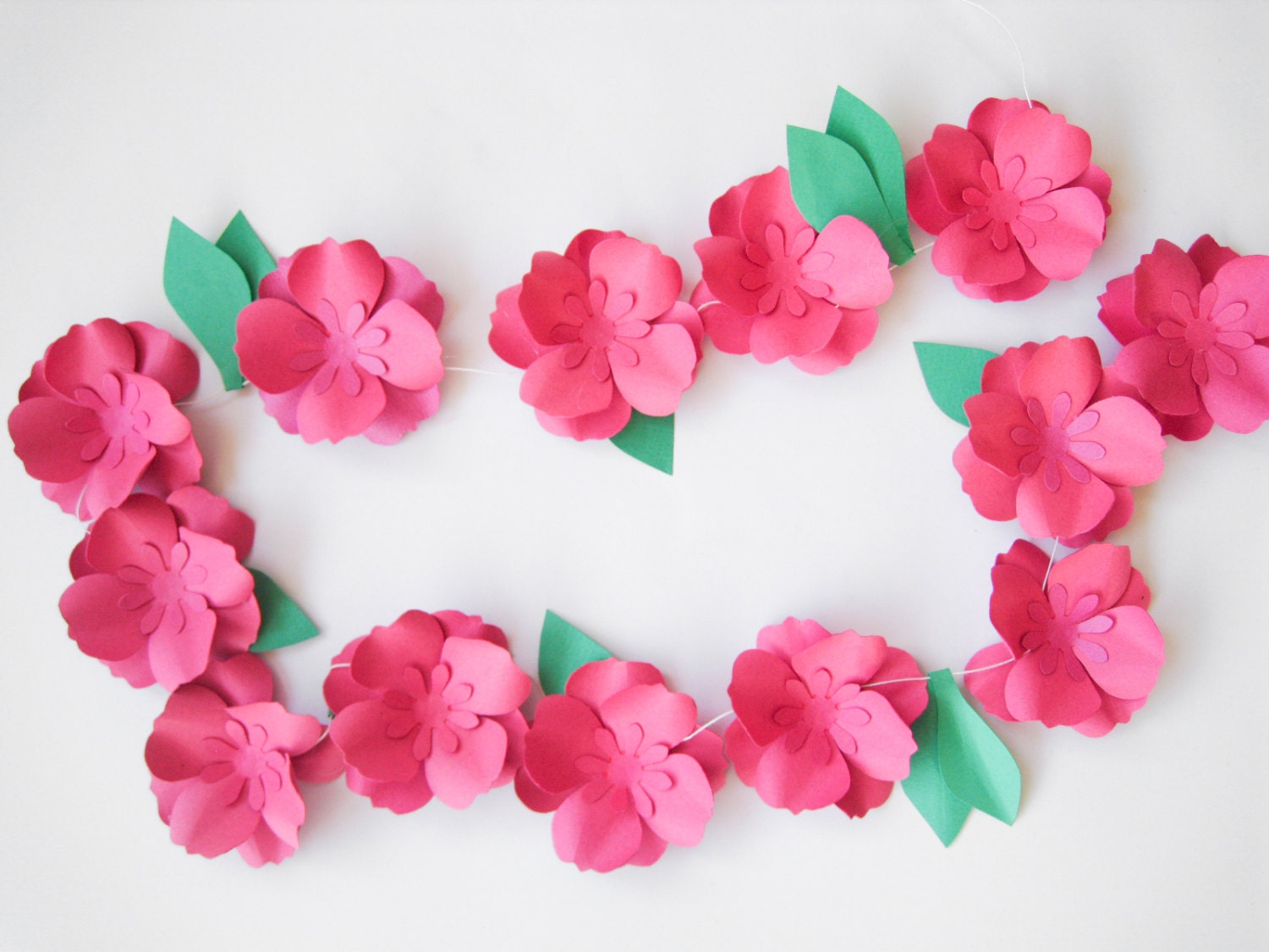 Hot Pink Paper Roses Garland Paper Flowers Garland Summer Party