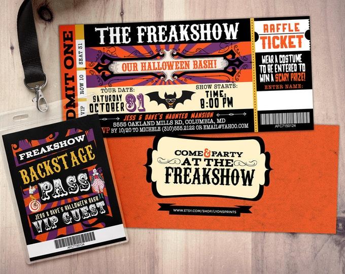 Freak show, Halloween invite, Halloween party, Halloween invitation, Halloween, circus, vintage circus, kids halloween party, carnival