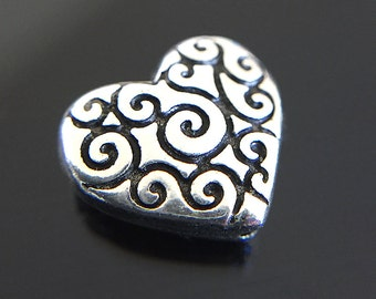 Silver Plated Heart Beads, Flat Heart Beads, TierraCast Heart Scroll Beads, Silver Heart Beads, Heart Shaped Beads 10x11mm - 4 beads (CH-63)