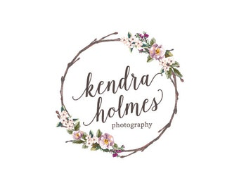 Wreath flower logo custom logo design premade logo watermark watercolor logo photography logo business logo floral logo graphic design