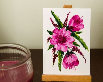 Original Encaustic Wax ACEO, Floral Bouquet 5, Fuschia Pink Floral Miniature Art