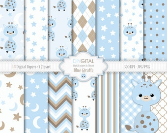 Blue Giraffe Digital Paper Set- Giraffe Clipart included-14 blue digital papers with giraffes, stars, chevron, stripes-Baby Shower-Baby Boy