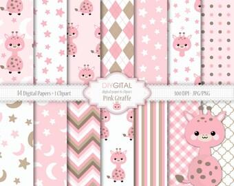 Pink Giraffe Digital Paper Set- Giraffe Clipart included-14 pink digital papers with giraffes, stars, chevron, stripes-Baby Shower-Baby Girl