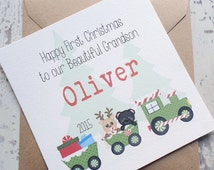 Baby's First Christmas Card, Personalised Babys 1st Xmas Train Card, Handmade for Son, Daughter, Grandson, Granddaughter, Niece, Nephew