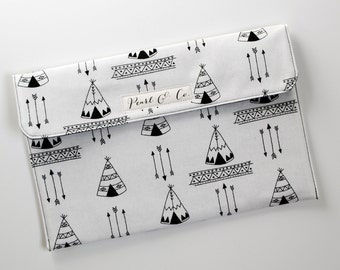 Diaper Clutch: Black & White Teepees - Aztec Diaper Clutch - Black and White Diaper Pouch - Monochrome Diaper and Wipes Case - Diaper Bag