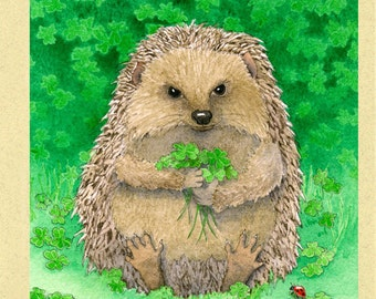 Lucky Hedgehog with Ladybug Greeting Card