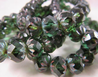 EVERGREEN 6x9mm Emerald Green Cruller Czech Glass Rondell - Emerald Pine Green Picasso Earthy Rustic - Qty 10 (RC-001)