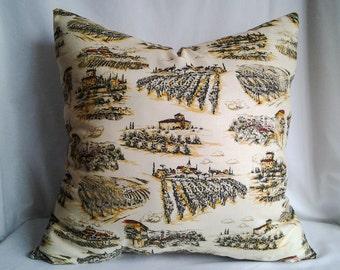 Vineyard Pillow Cover, 18x18 Pillow, Decorative Pillow, Toss Pillow, Cream Colored Pillow, Home Decor, summer decor, country living, vinyard