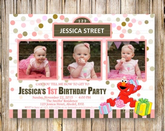 PINK SESAME STREET Birthday Party Invitation, Girls Sesame Street Invite, Elmo Birthday, Pink and Brown Confetti, Girl Photo Birthday Invite