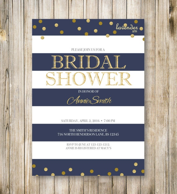 RUSTIC NAUTICAL Bridal Shower Invitation Navy Blue Stripes