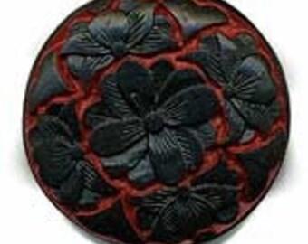 Carved black over red cinnabar disk. 34mm. Pkg of 1. B7-CIN106(e)