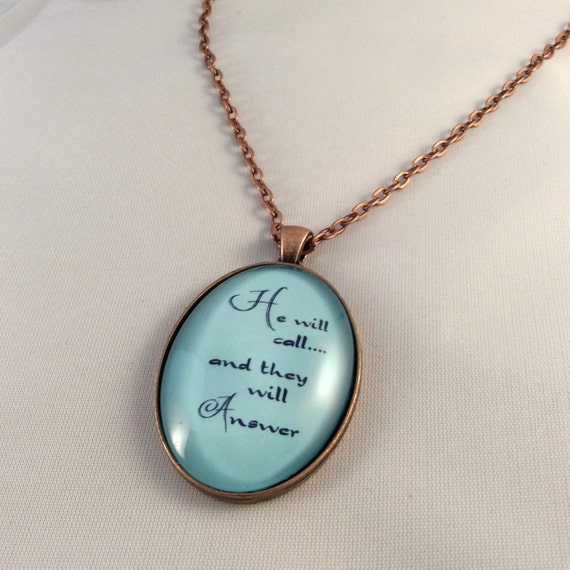 JW Pendant - He will call... And they will answer, - Handmade Copper Pendant 30mm x 20mm.  Blue Velvet Gift Bag Included! #29